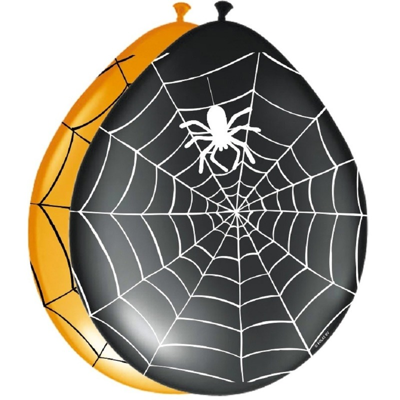 Zwarte horror ballonnen met spinnenweb 8 stuks