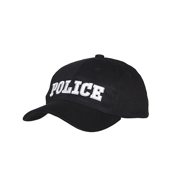Zwarte katoenen pet Police