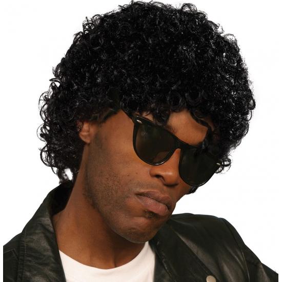 Zwarte krullen pruik Michael