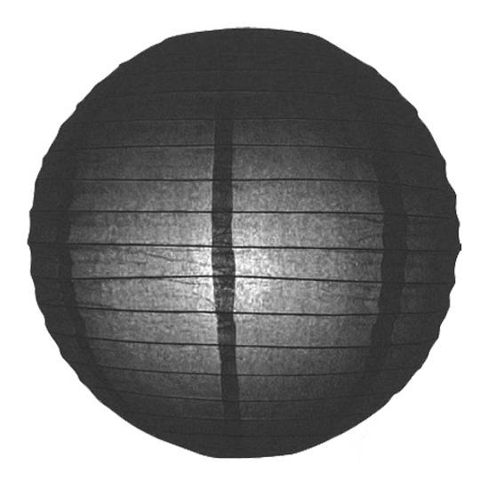 Zwarte lampion rond 25 cm