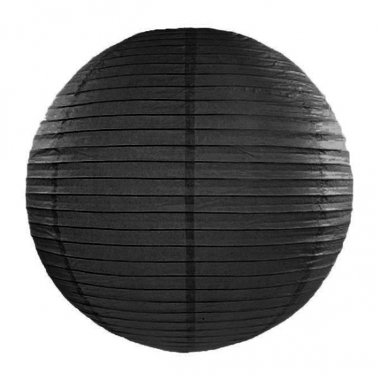 Zwarte lampion rond 35 cm