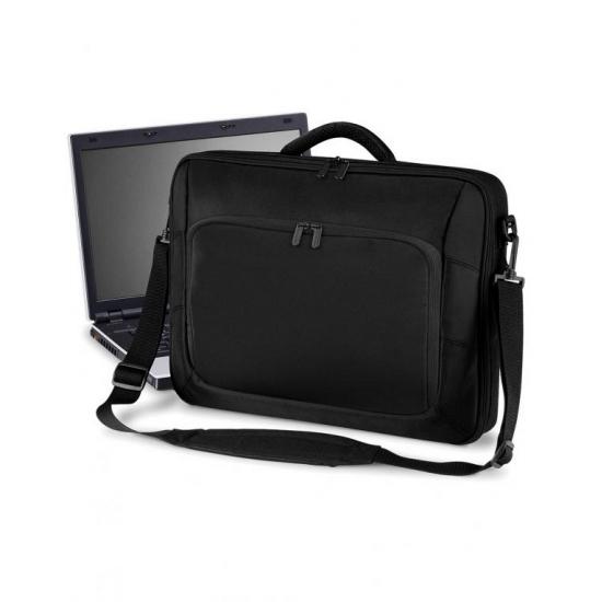Zwarte laptop schoudertas 10 Liter