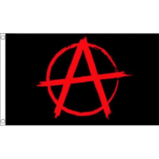 Zwarte met rode Anarchie vlag (bron: Oranjediscounter)