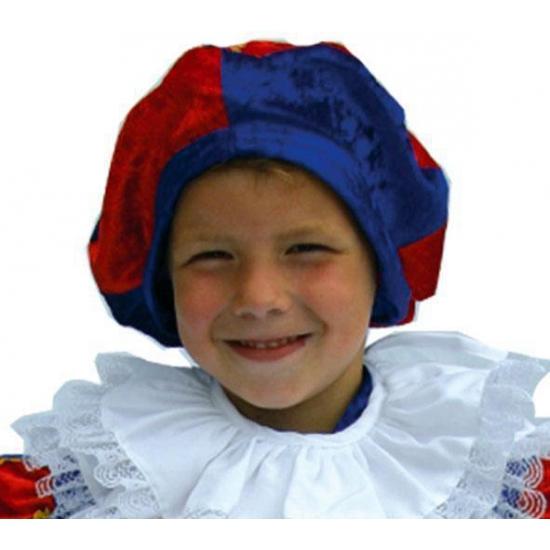 Zwarte Piet kinder baret blauwrood
