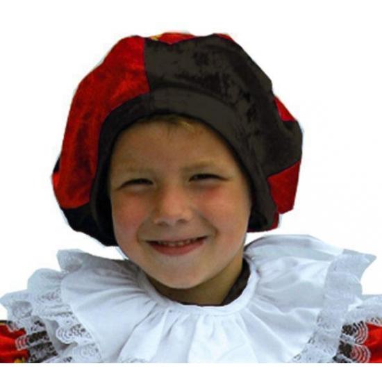 Zwarte Piet kinder baret roodzwart
