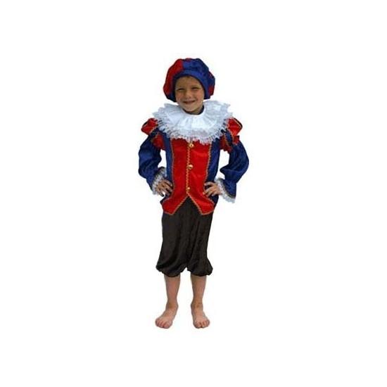 Zwarte Piet pak blauw/zwart kinderen (bron: Oranjediscounter)