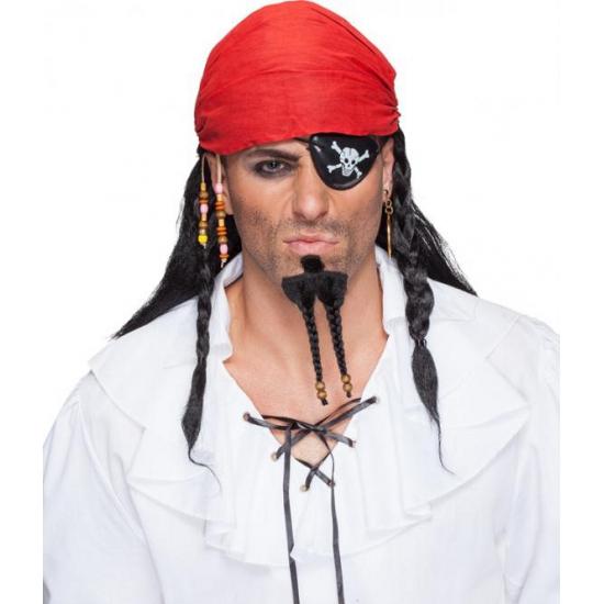 Zwarte piraten pruik met bandana (bron: Oranjediscounter)