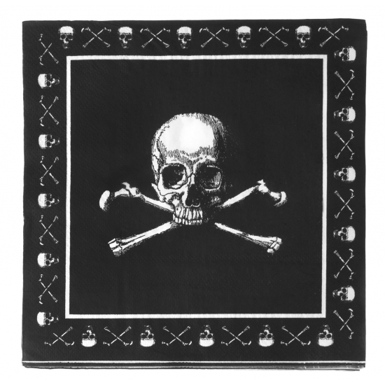 Zwarte piraten servetten 33cm