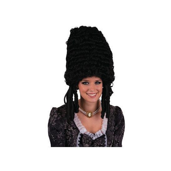 Zwarte pompadour pruik