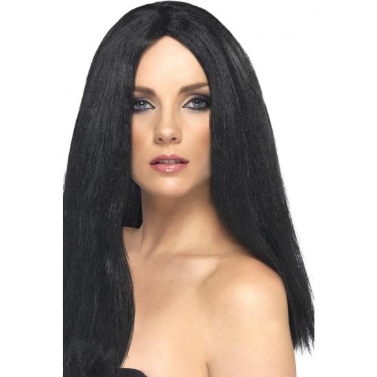 Zwarte pruik voor dames 44 cm lang
