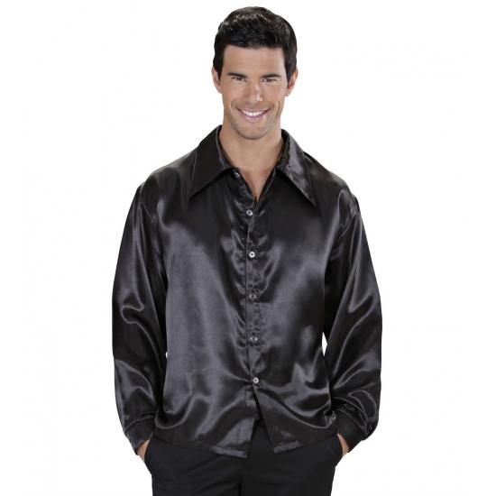 Zwarte satijnen disco blouse