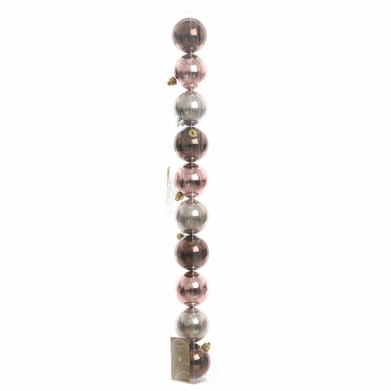 10-delige kerstballen set bruin-roze