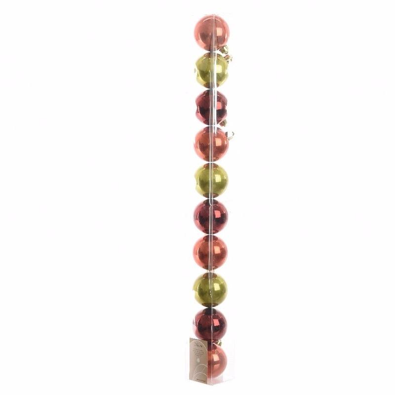 10-delige kerstballen set rood-groen