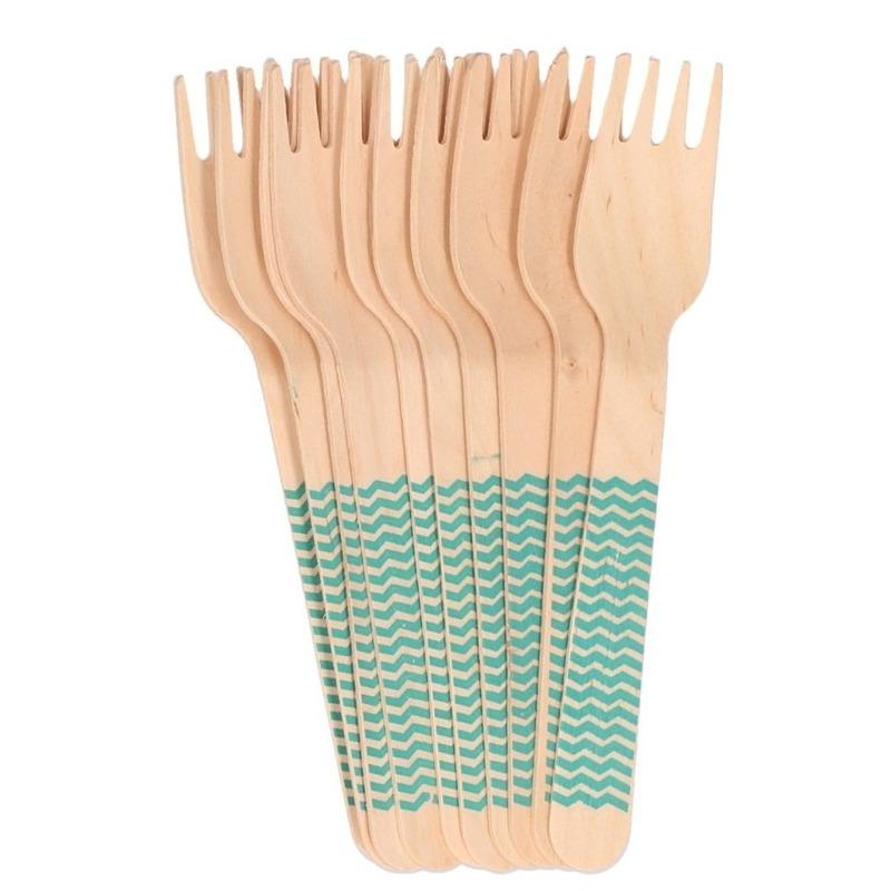 10x Houten duurzame wegwerp bestek vorken 16 cm