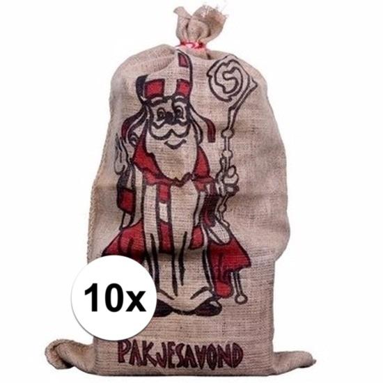 10x Jute cadeau zakken voor Sinterklaas 60 x 102 cm