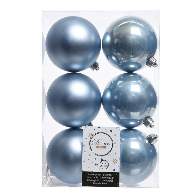 12x IJsblauw kerstballen van kunststof 8 cm