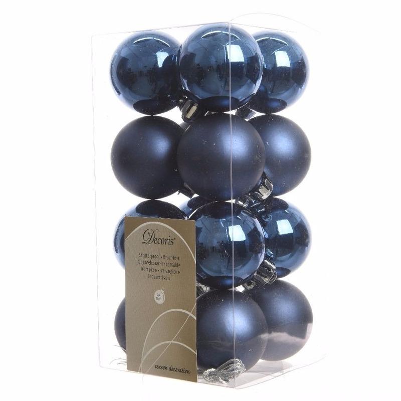 16-delige kerstballen set blauw