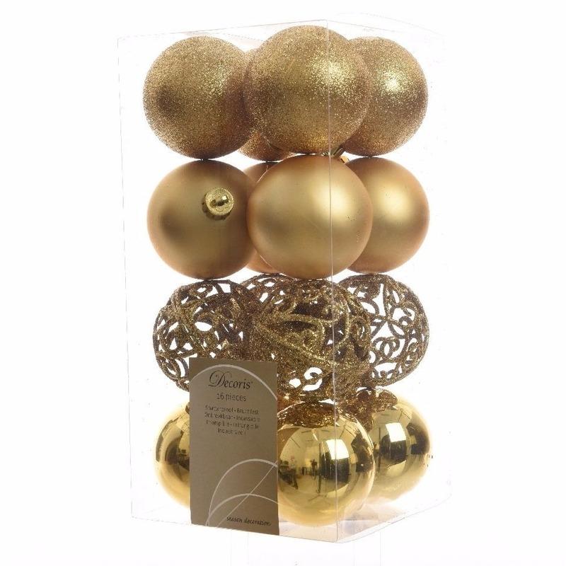 16-delige Kerstballen Set Goud