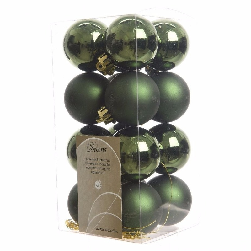 16-delige kerstballen set groen