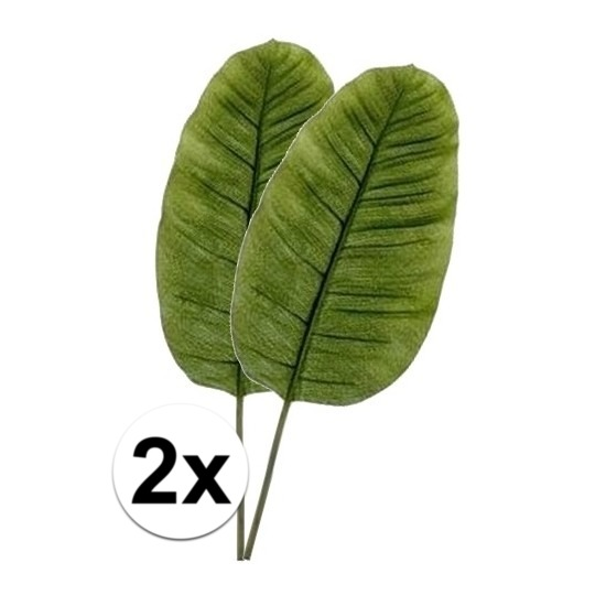 2 x Kunstbloemen tak groene bananen blad 92 cm