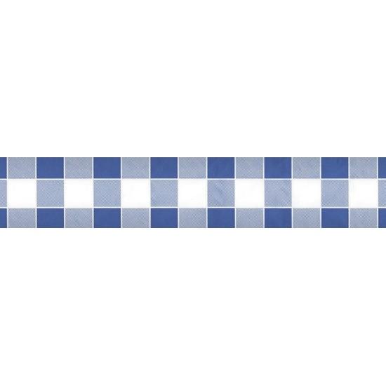 2x Blauw/witte ruitjes thema versiering papieren tafelkleed 1000 x 118 cm