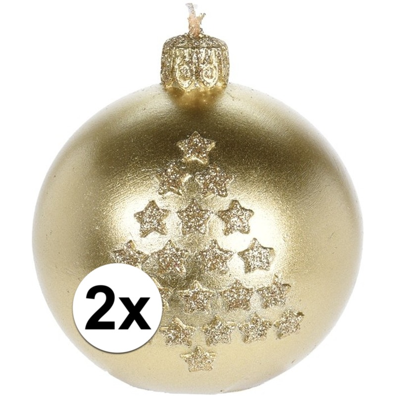 2x Kerst decoratie kaarsen gouden kerstbal
