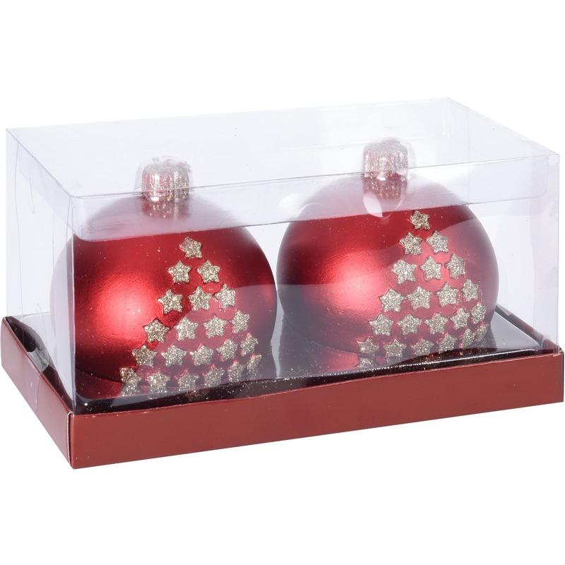 2x Kerst decoratie kaarsen rode kerstbal