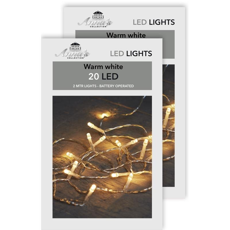 2x Kerst lampjes lichtjes warm wit op batterijen 2 meter