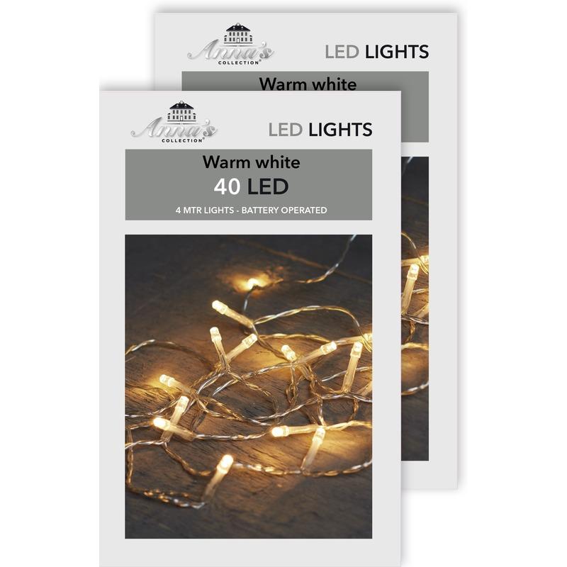 2x Kerst lampjes lichtjes warm wit op batterijen 4 meter