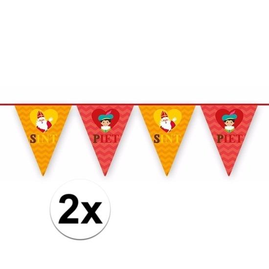 2x Sinterklaas decoratie vlaggen slinger rood-oranje