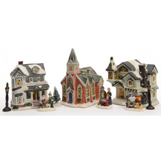 3 kersthuisjes 10-delige set