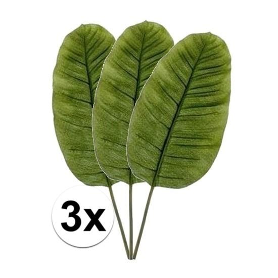 3 x Kunstbloemen tak groene bananen blad 92 cm