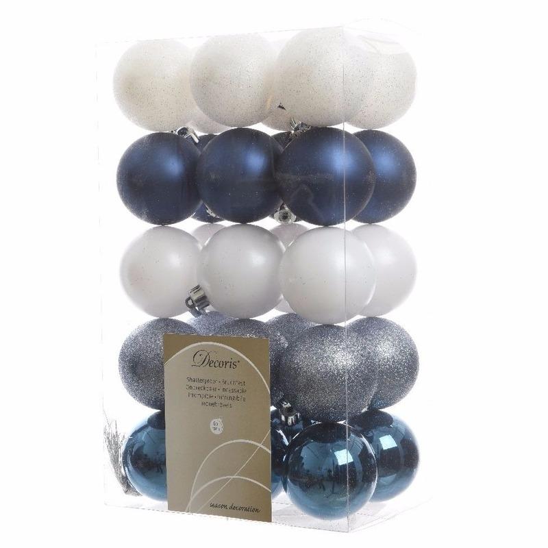 30-delige kerstballen set blauw-wit