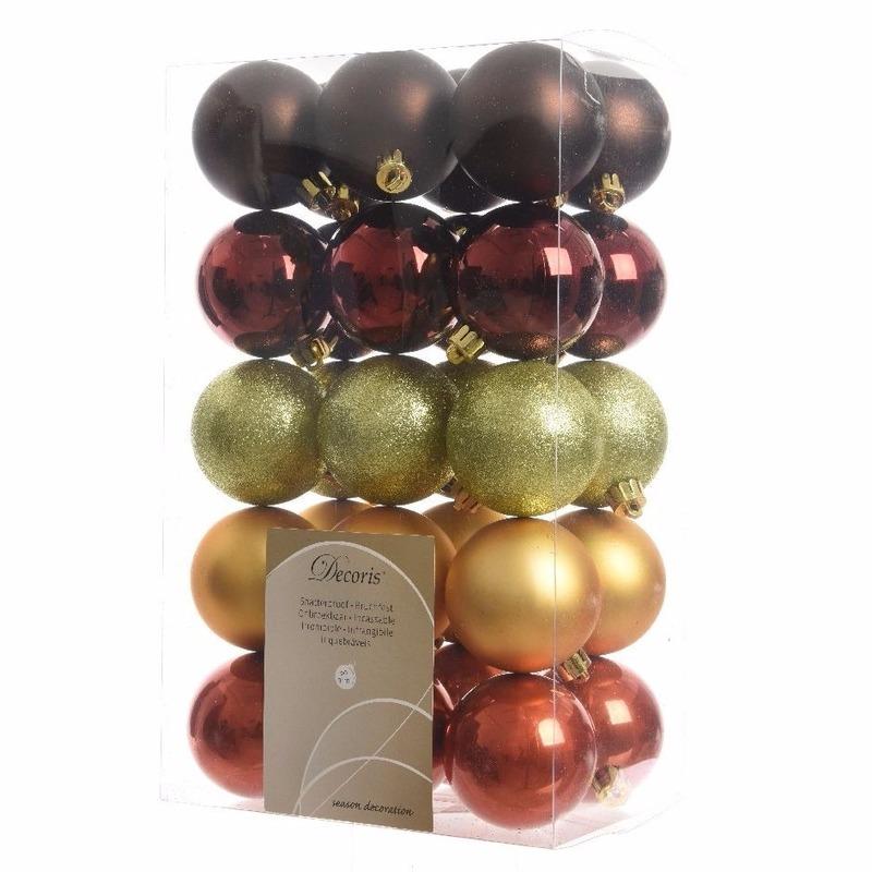 30-delige kerstballen set rood-bruin