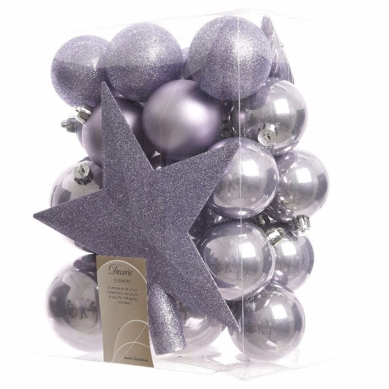 33-delige kerstballen set lila