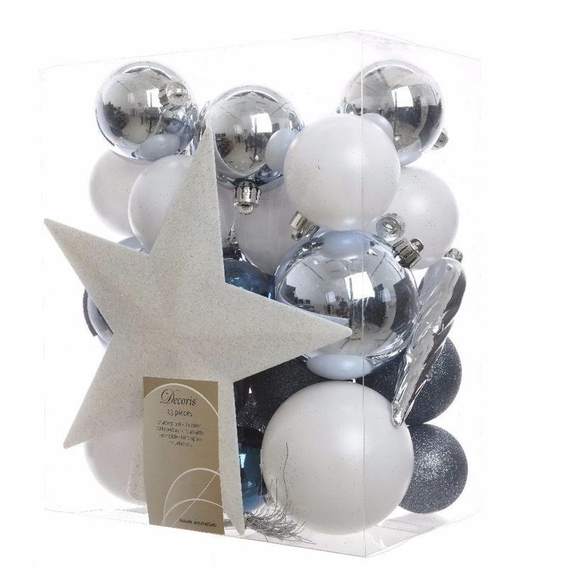 33-delige kerstballen set wit-blauw
