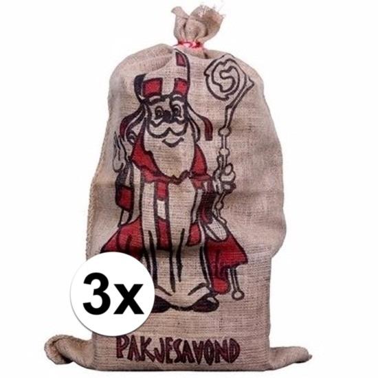 3x Jute cadeau zakken voor Sinterklaas 60 x 102 cm