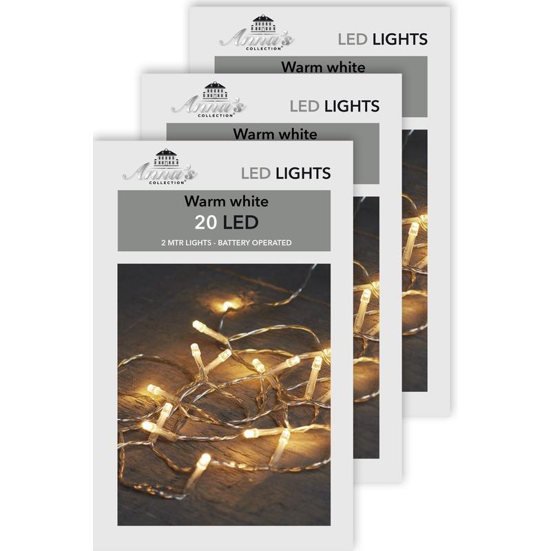 3x Kerst lampjes lichtjes warm wit op batterijen 2 meter