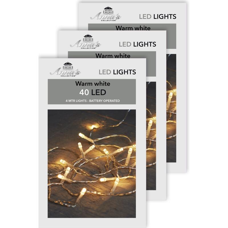 3x Kerst lampjes lichtjes warm wit op batterijen 4 meter