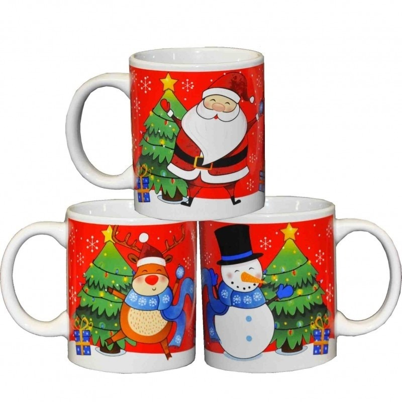 3x Kerstmokken-Kerstbekers met Kerstman-rendier-sneeuwpop opdruk