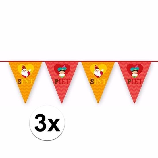 3x Sinterklaas decoratie vlaggen slingers rood-oranje