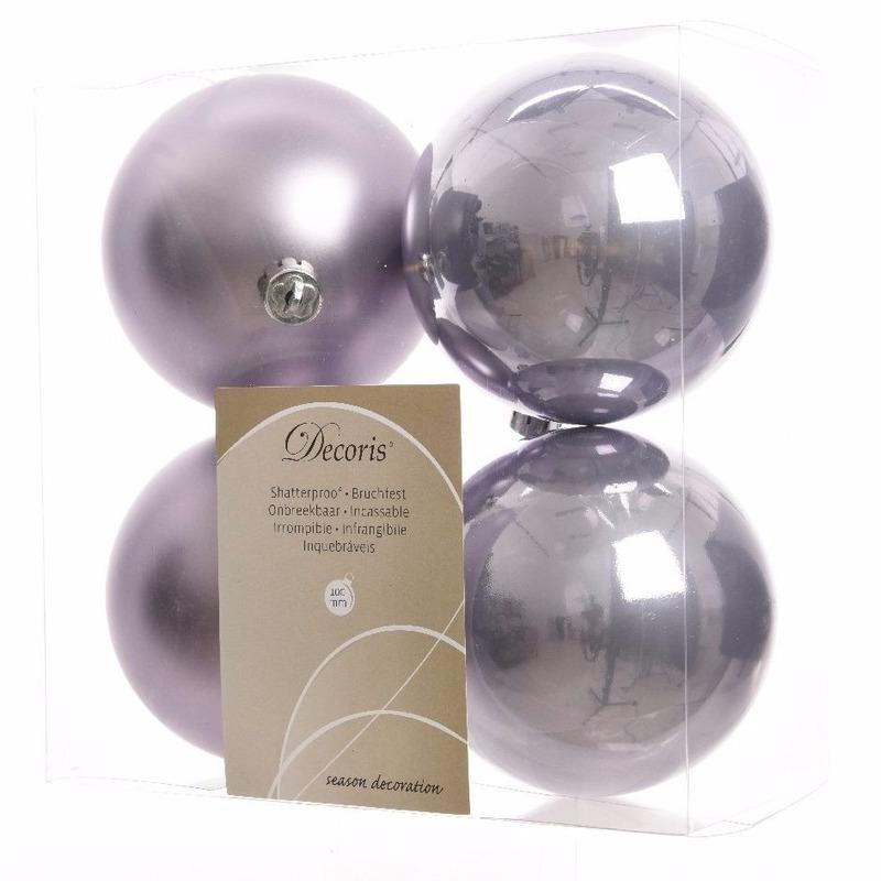 4-delige kerstballen set lila