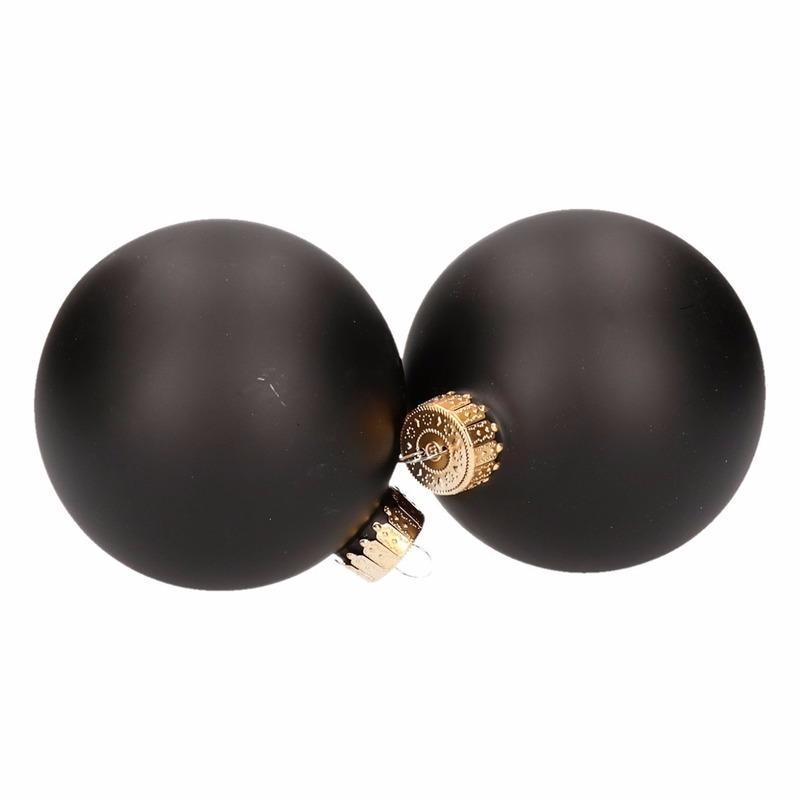 4-delige kerstballen set mat zwart van glas