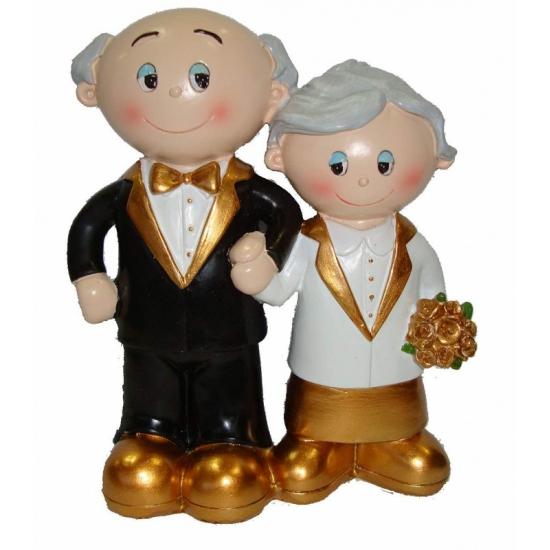 Trouwfiguurtje bruidspaar goud. leuk trouwfiguurtje van een gouden bruidspaar. het trouwfiguur is ongeveer 11 ...