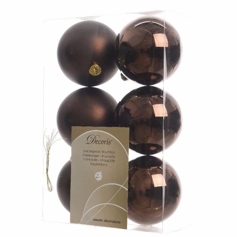 6-delige kerstballen set bruin