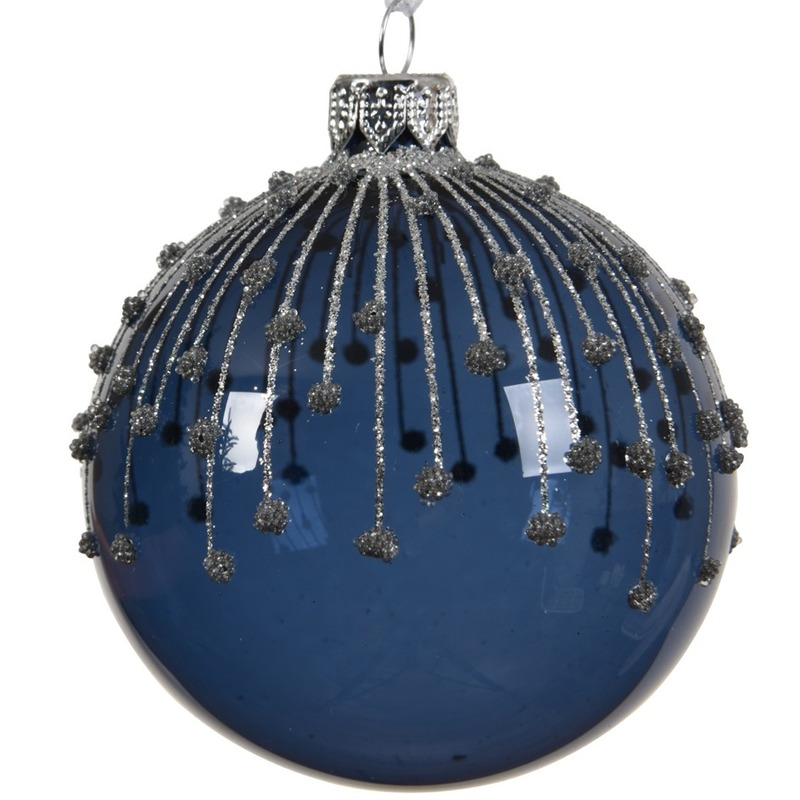 6x Blauwe kerstballen transparant 8 cm