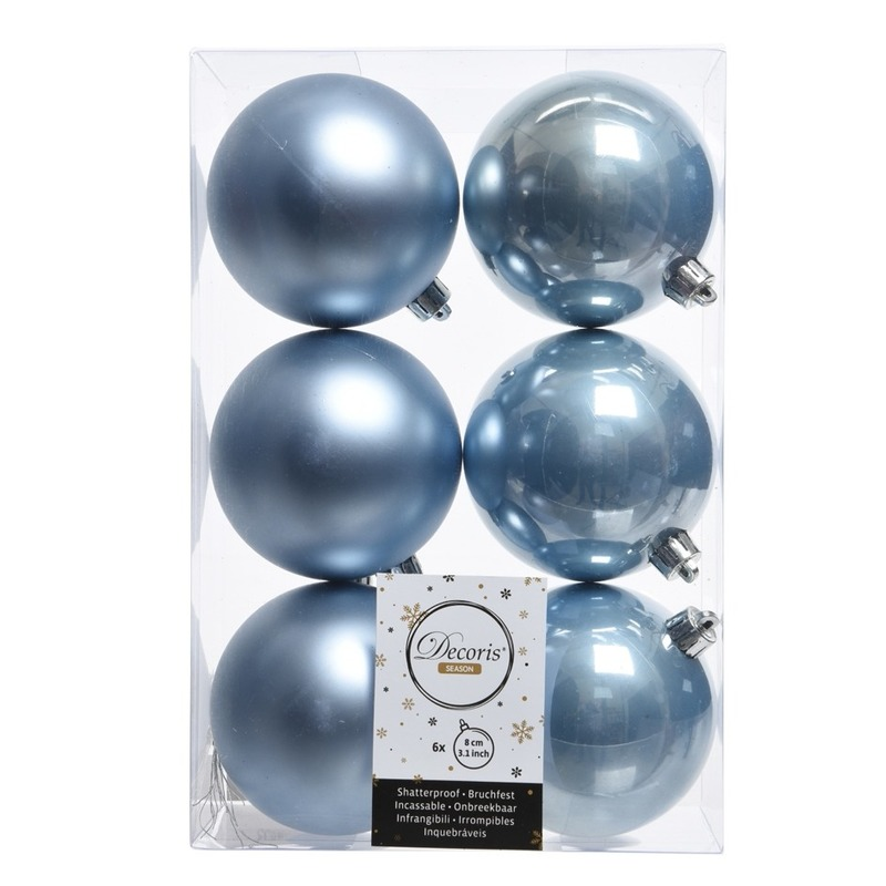 6x IJsblauw kerstballen van kunststof 8 cm
