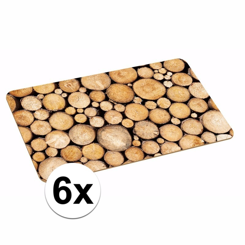6x placemat boomstronk print 44 x 28 cm