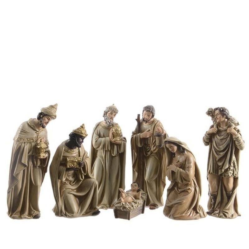 7 kerststal beeldjes van polystone 12 cm