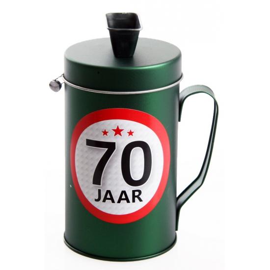 70 jaar kado spaarpot/ collectebus